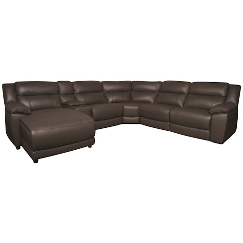 Morris Home Furnishings Ryder 6-Piece Power Leather-Match* Reclining Sectional