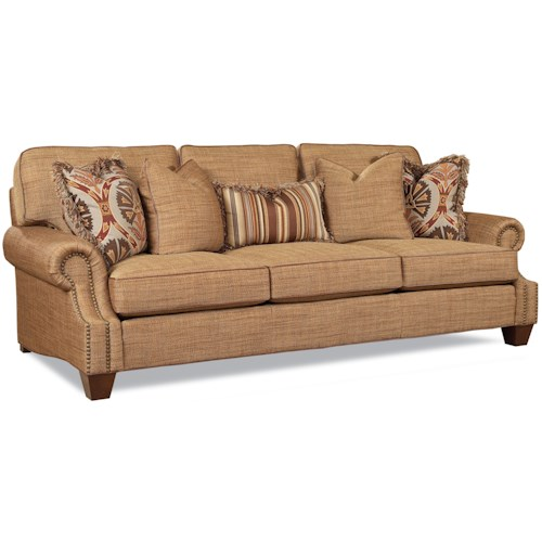 Huntington House 2083 Customizable Traditional Three Seat Sofa with Nail Head Trim