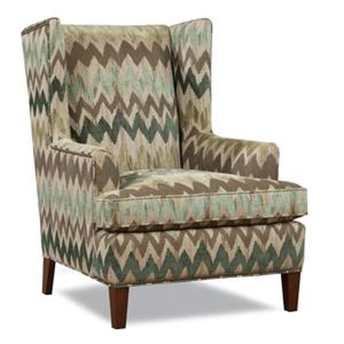 Huntington House Brennan Contemporary Wing Chair with Tapered Wood Legs