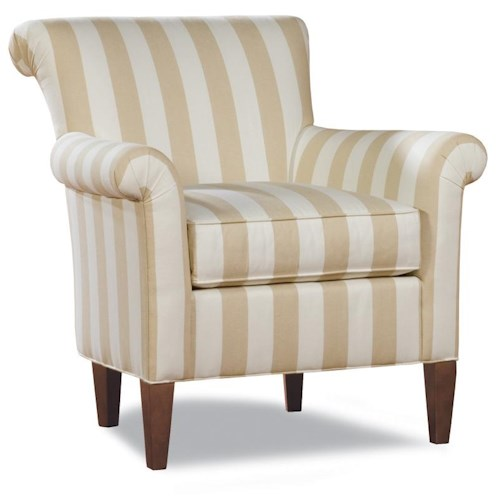 Huntington House 4037 Transitional Rolled Back Chair with Rolled Arms