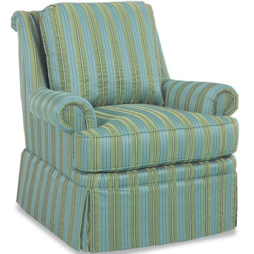 Huntington House 4082 Casual Upholstered Fabric Chair with Loose Pillow Back and Full Skirt