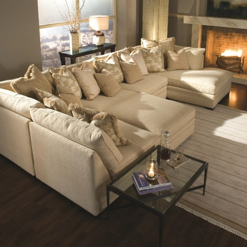Huntington House 7100 Contemporary U-Shape Sectional Sofa with Chaise