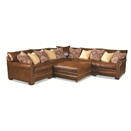 Huntington House 7107 Roll Arm Corner Sectional w/ Ottoman