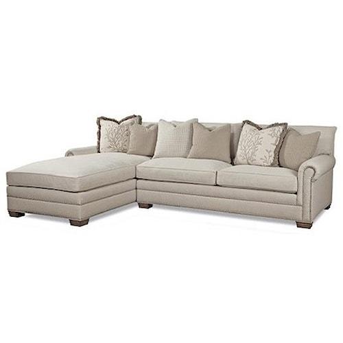 Huntington House 7107 Left Arm Facing Sofa Chaise w/ Roll Arms