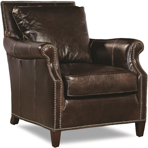 Huntington House 7121 Rolled Arm Chair with Nailhead Trim