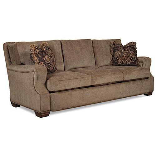 Huntington House 7124 Casual Elegant Plush Stationary Sofa with Nailhead Trim