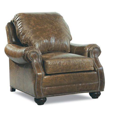 Huntington House 7214 Traditional Chair with Nailhead Trim and Rolled Arms