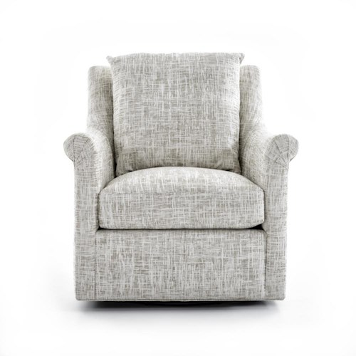 Huntington House 7240 Collection Upholstered Swivel Chair with Loose Back Pillow