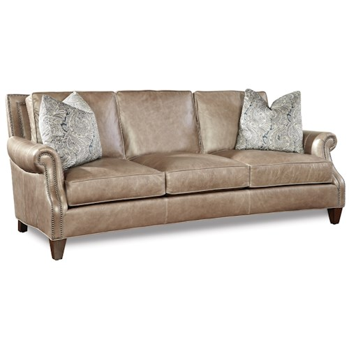 Huntington House Johnson Transitional Sofa with Rolled Arms and Nailhead Trim