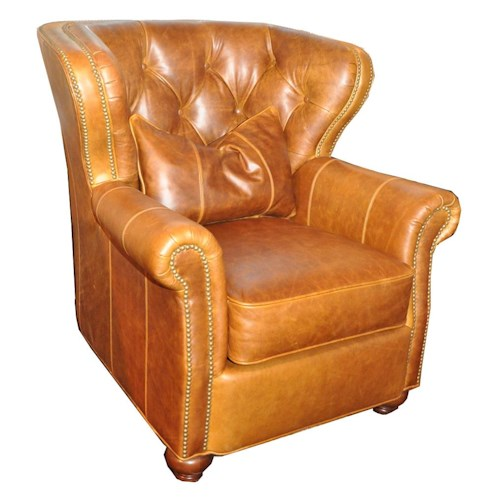 Huntington House 7356 Traditional Wing Chair with Tufted Back and Nailhead Trim