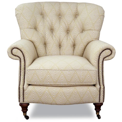 Huntington House 7366 Traditional Upholstered Chair with Tufted Back, Nail Head Trim and Casters
