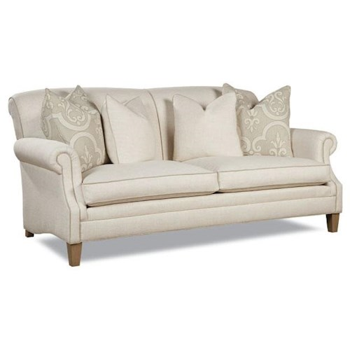 Huntington House 7428 Casual Rolled Arm Sofa with Large Accent Pillows