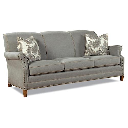 Huntington House 7436 Latham Casual Elegant Stationary Sofa with Nailhead Trim