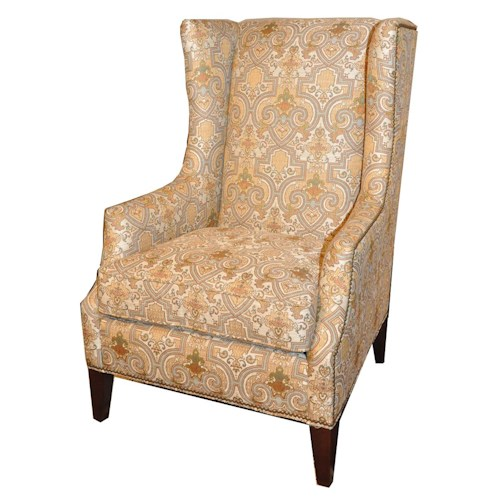 Huntington House 7445 Contemporary Wing Chair with High Tapered Wood Legs