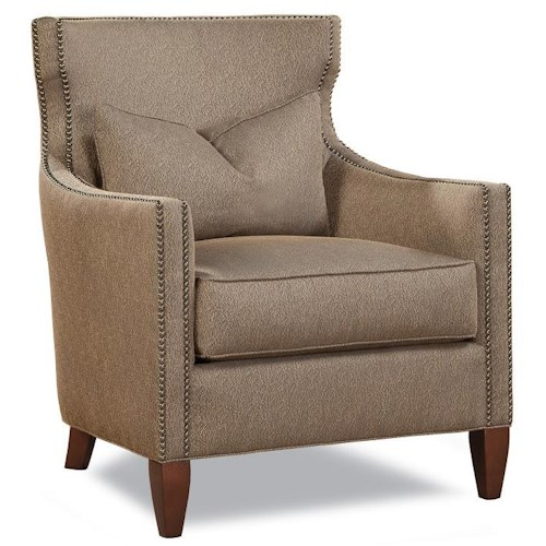 Huntington House 7451 Upholstered Chair with Nail Head Trim and Wood Legs