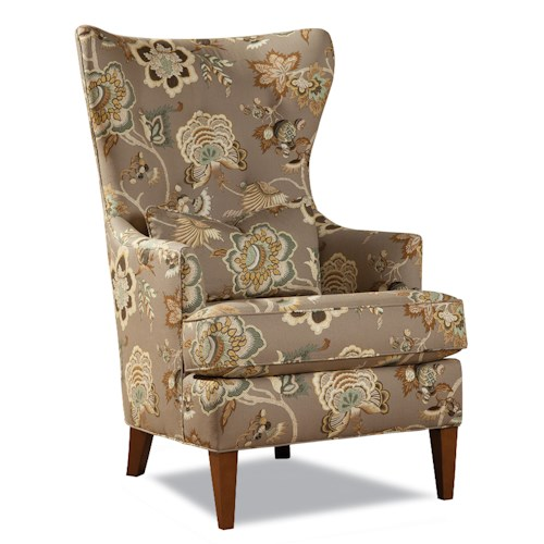 Huntington House 7460 Transitional Wing Chair with Low Profile Track Arms