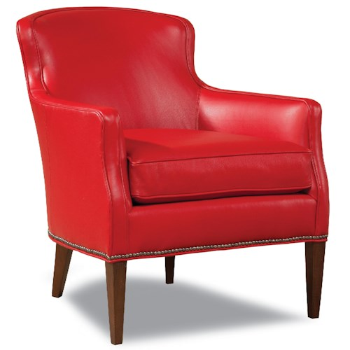 Huntington House 7485 Upholstered Chair with Track Arms, Nail Head Trim, and Tapered Wood Legs
