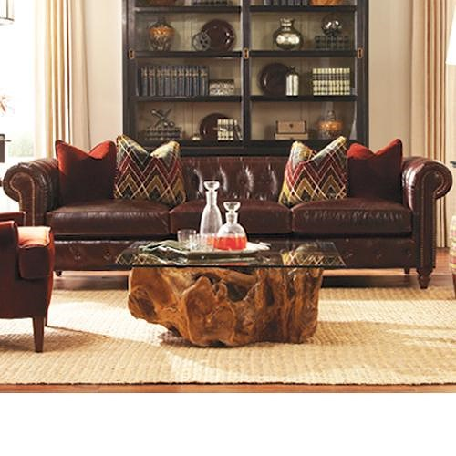 Huntington House Garrick Traditional 109 Inch Leather Sofa with Rolled Arms