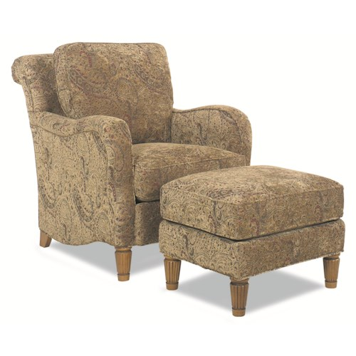 Huntington House 7073 Traditional Stationary Chair and Ottoman with Decorative Wood Legs