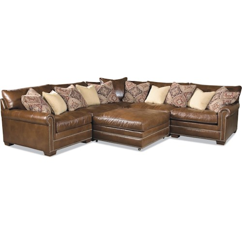 Huntington House 7107 Traditional Sectional Sofa with Nailhead Trim