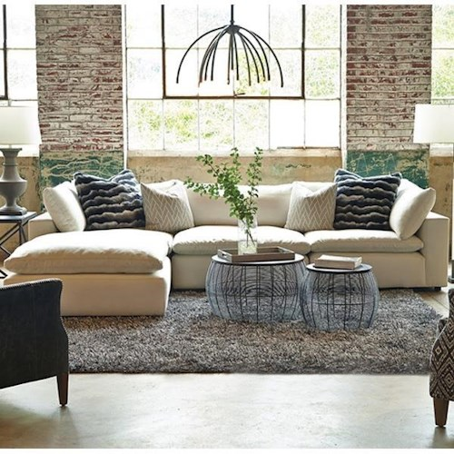 Huntington House Xavier Sectional Sofa Group with Track Arms and Tight Seat Cushion