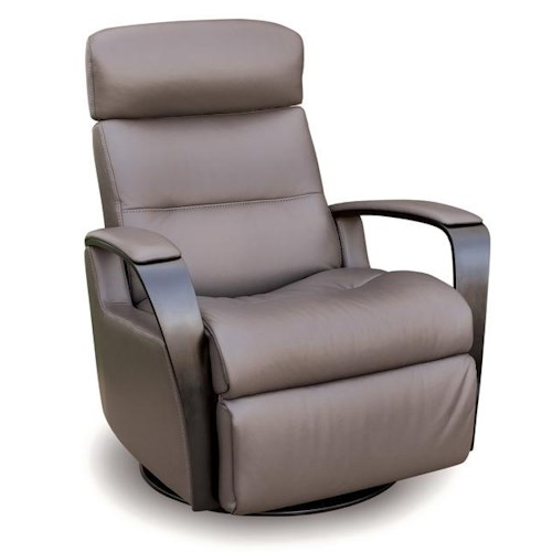 Vendor 508 Recliners Modern Peak Recliner Relaxer with Exposed Wood Arms