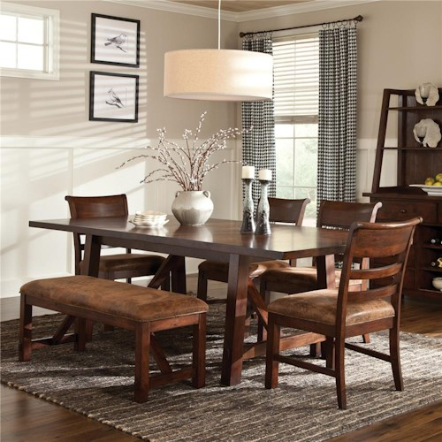Intercon Bench Creek 5-Piece Trestle Table & Upholstered Chairs Dining Set