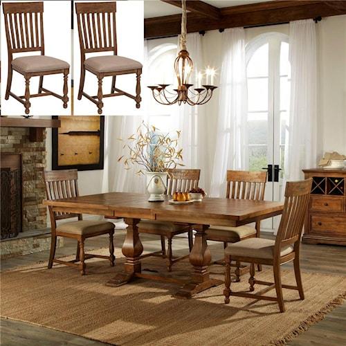 Wood Farmhouse Trestle Dining Table 120 x 44 Dark