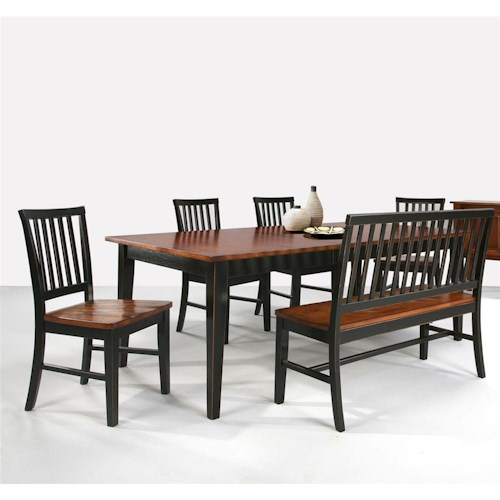 Intercon Arlington Dining Table with Slat Back Bench & Slat Back Side Chairs