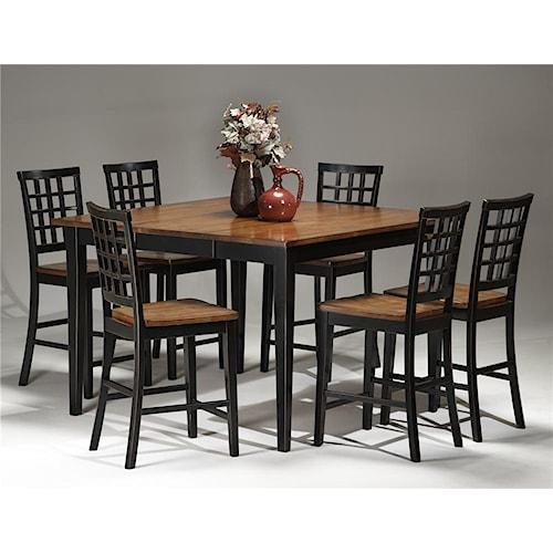 Intercon Arlington Four Leg Gathering Table & Lattice Bar Stools