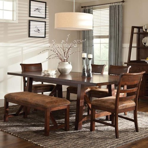 Intercon Bench Creek 6-Piece Dining Set with Trestle Table, Upholstered Chairs & Bench