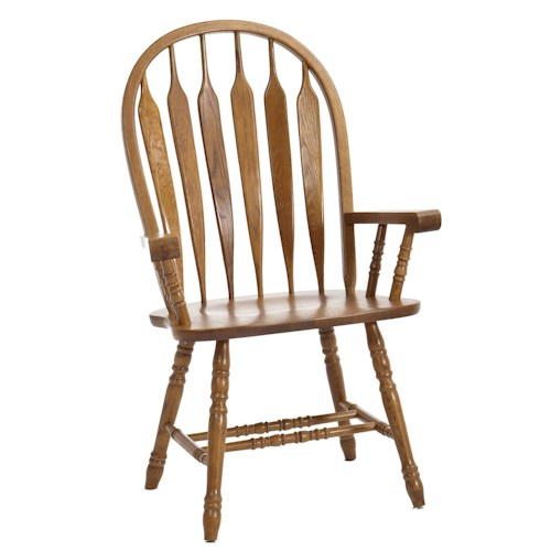 Intercon Classic Oak Turned Leg Curved Arrow Back Dining Arm Chair
