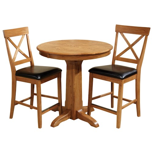 Intercon Family Dining 3 Piece Solid Oak Round Counter Table with Laminate Top
