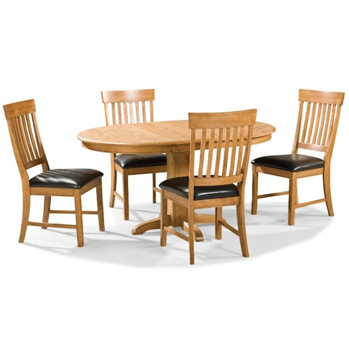 Intercon Family Dining 5 Piece Dining Set with Slat Back Chairs