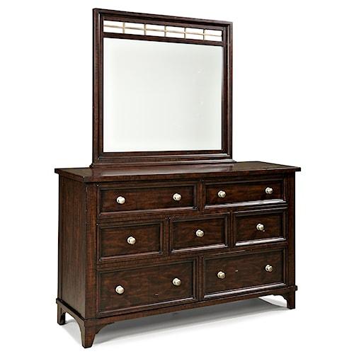 Intercon Hayden 7 Drawer Dresser and Metal Accented Landscape Mirror