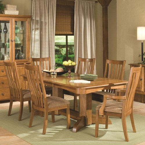 Intercon Highland Park  7 Piece Trestle Table and Chairs Dining Set