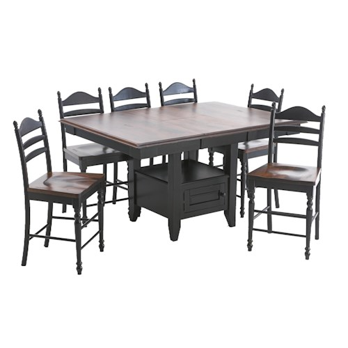 Intercon Hillside Village  Gathering Island Table and Ladder Back Bar Stool Set