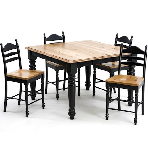 Intercon Hillside Village  Gathering Table and Ladder Back Stool Set