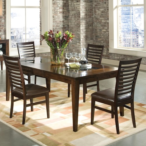 Intercon Kashi 5 Piece Rectangular Top Table with Glass Inlays and Ladder Back Chair Dining Set