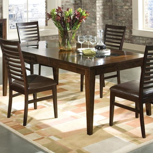 Intercon Kashi Rectangular Top Transitional Dining Table with Glass Inlays