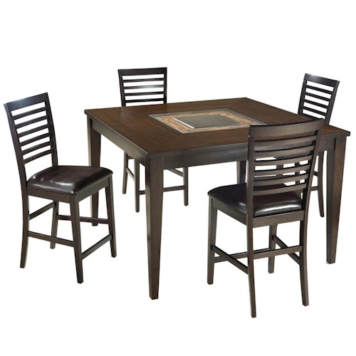 Intercon Kashi 5 Piece Square Top Table with Acacia and Glass Inlay with Ladder Back Bar Chair Set