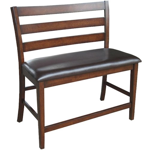 Intercon Kona 24-Inch Ladder Back Counter Height Bench with Upholstered Seat