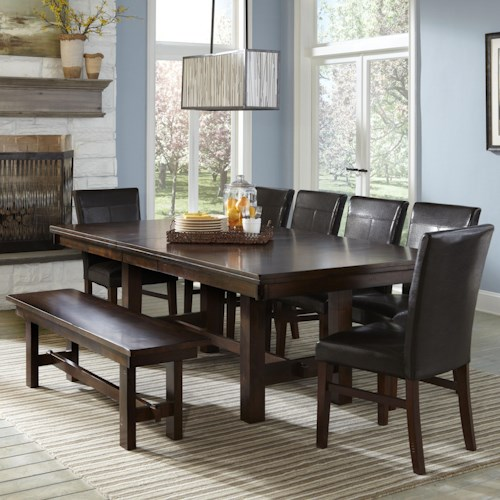 Intercon Kona Dining Set with Parsons Chairs and Backless Bench