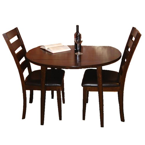 Belfort Select Cabin Creek 3 Piece Drop Leaf Dining Table and Ladder Back Side Chair Dining Set