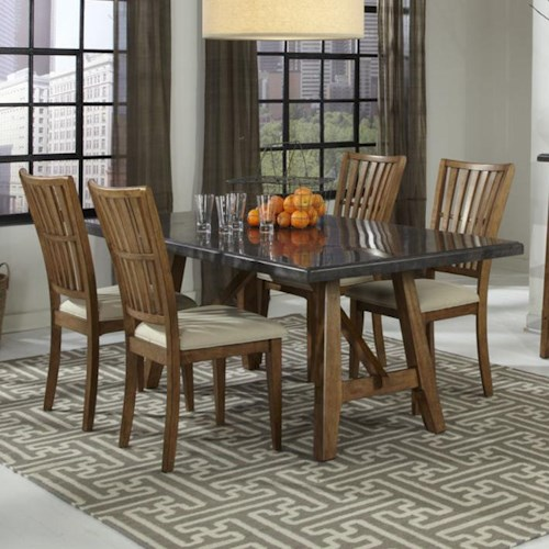 Intercon Lucca 5 Piece Trestle Table and Chairs Set