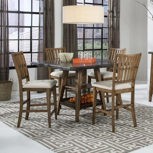 Intercon Lucca 5 Piece Gathering Table and Stools Set