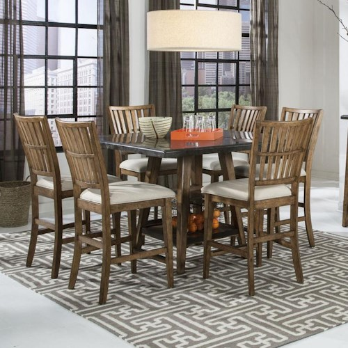 Intercon Lucca Gathering Table and 6 Stools Set