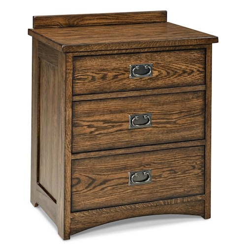 Intercon Oak Park Mission Three Drawer Nightstand with Charging Station