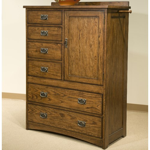 Intercon Oak Park Mission Chest of Six Drawers with Door