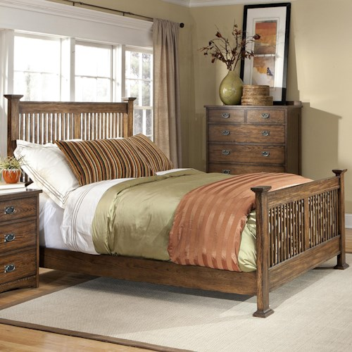 Intercon Oak Park Complete Queen Standard Slat Bed